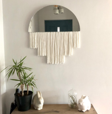 The Tiger Lily Half Moon Mirror is a perfect addition to the modern nursery. The half moon mirror is accessorised with handmade bamboo tassels in 3 lengths, and available in all standard shades as well as the option of custom colours.