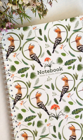 50 Lined Sheets adorned with the Shy Hoopoe  Environmentally Friendly Paper  Wire Bound