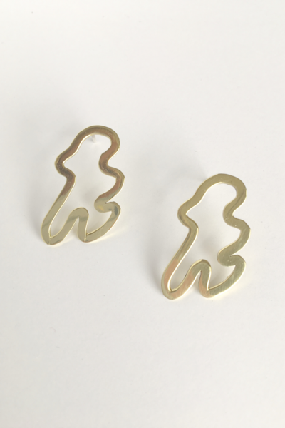 A more minimalist take on our sculpture design  Earrings made from brass with sterling silver ear posts