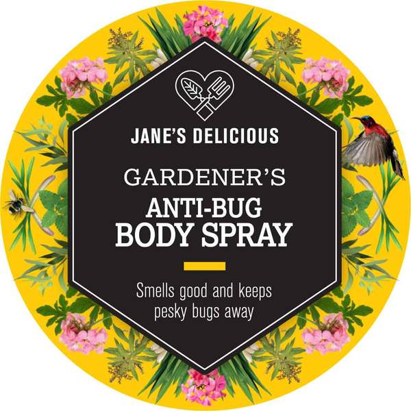 This anti-bug spray smells delicious and keeps mosquitoes and gnats away  With vitamin E oil cedarwood, citronella, eucalyptus,jasmine, lemon balm, lemon grass, lemon verbena, rosemary, rose pelargonium and spearmint.  Made with 100% natural ingredients. In a glass bottle with a pump spray.  Tested on gardeners!