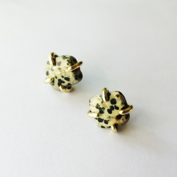STONE Stud Earrings with Dalmation Jasper