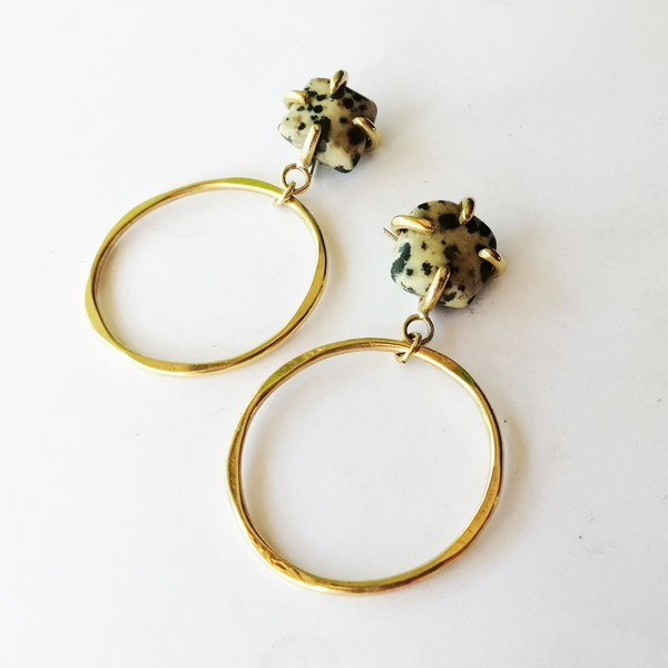 STONE Studs Hoop Earrings with Dalmation Jasper