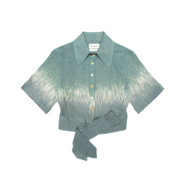 Button Up Blouse - Naturally Dyed at Tarum Bali (Leaf Green)