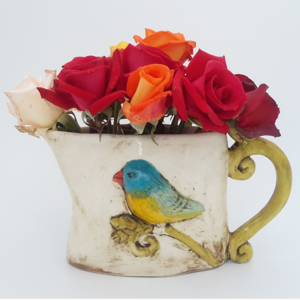 Iconic Hand-made ceramic bird jug looks fantastic with flowers!
