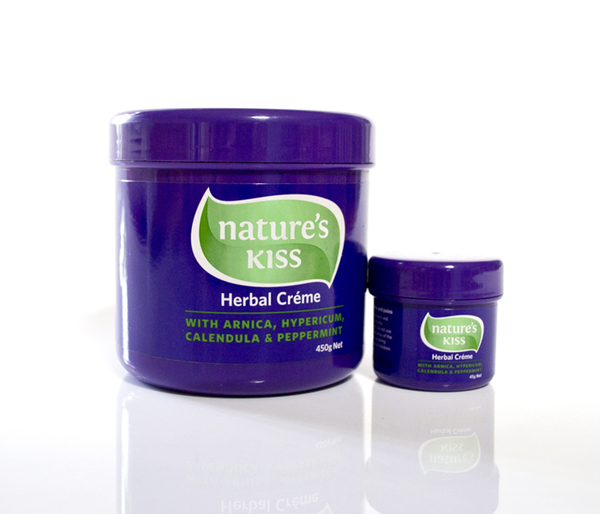 Nature's Kiss is a herbal-based cream. It contains natural ingredients, including pure herb extracts of Arnica, Hypericum, Calendula and Peppermint Oil.