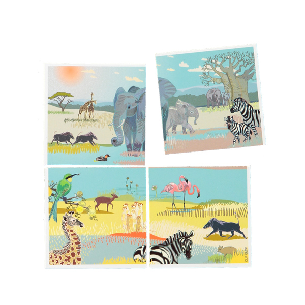 "Animal puzzle set, Africa, South Africa and Cape Town fridge magnets: each magnet is 50 x 50mm;  packed as a set of 4. Choose your favourites from the drop-down menu but please check availability (it will say ""out of stock"" in blue). We're low on most of them; the bird magnets have sold out.