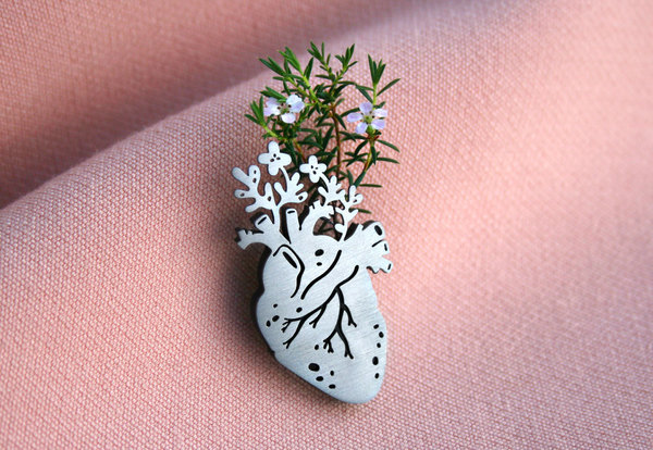 Stainless steel heart pin with a black perspex backing.