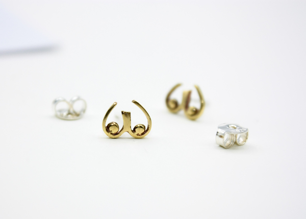 Cheeky little boob studs  Silver pin & butterfly  Gold plated brass option  Sterling silver option           x