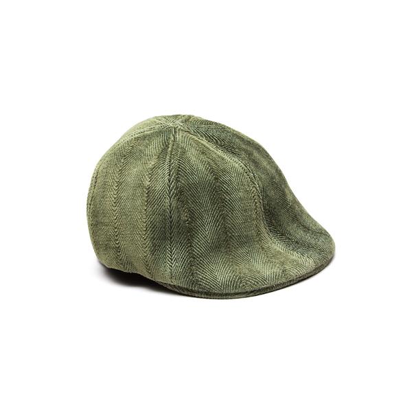 Newsboy Flat Cap - Olive Herringbone