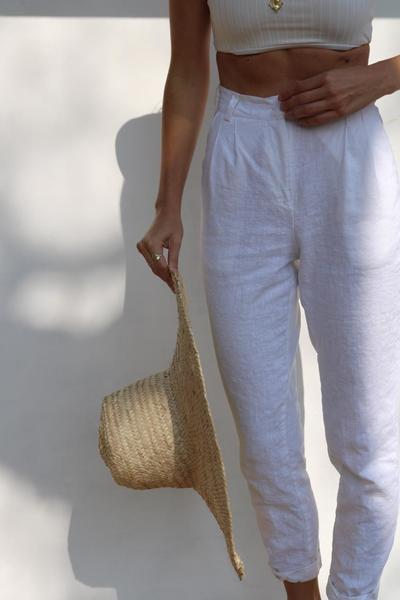 Linen High-Waisted Pants