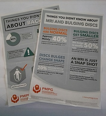 "Get the ""Things you didn't know about Back Pain"" and ""Things you didn't know about MRI & Bulging Discs"" on A5 flyers (printed back to back) to hand out to your patients.