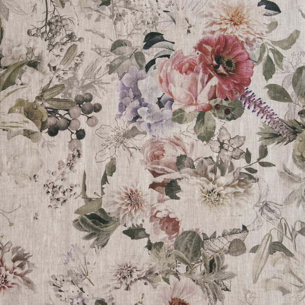 Floral Linen Fabric