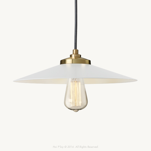 Exposed Shade White & Gold Empire Pendant