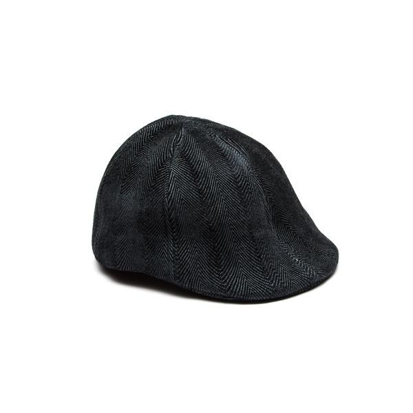 Newsboy Flat Cap - Charcoal Herringbone