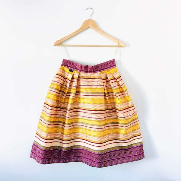A-line, pleated skirt.