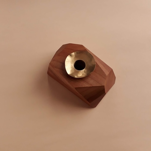Facet Wood + Brass Petal Candle Holder Cherry Wood