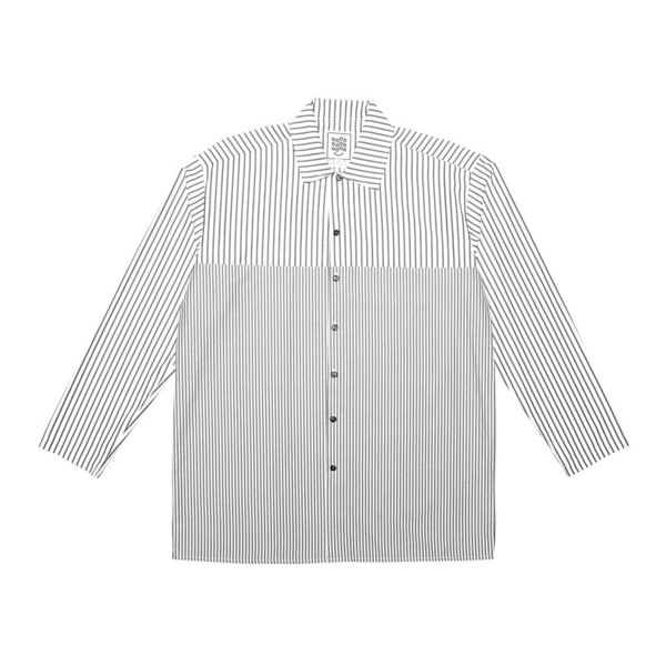 A classic box-shaped shirt featuring horizontal split panels and a utility pocket with pen insert. Cut from a lightweight 100% cotton. Finished with a straight hem and hemmed cuffs.  Handmade in Cape Town.