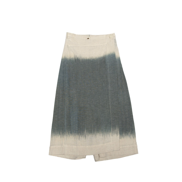A ladies Wide Leg Trouser, featuring a wrap-fold-over panel, with a single button fastening.Cut from an organic100% Indonesian cotton, and dyed at theTarum Balidye house.  Handmade in Cape Town.