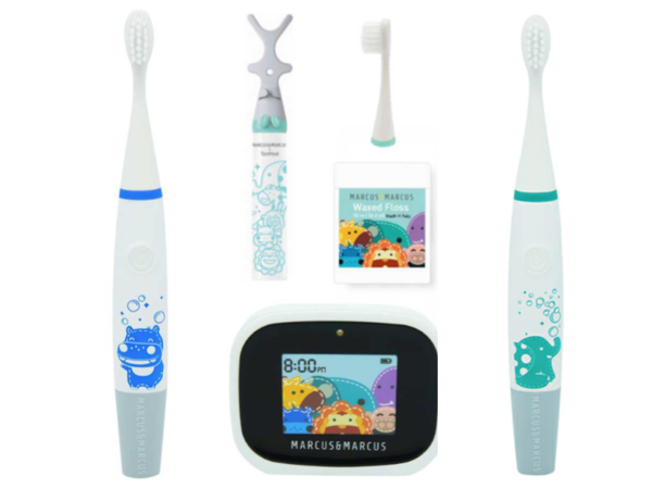 Teach your littles ones early on that oral hygiene is important and fun! Marcus and Marcus' Kid's Premium Oral Care set includes our Kid's Sonic Electric Toothbrush, Interactive LCD Brushing Timer and the Marcus & Marcus x Toothbat. Loaded with three fun animated games, the Interactive LCD Brushing Timer, 2 minutes of brushing will fly by in no time! The extra soft nylon bristles are cut in a convex shape for the best care and comfort of little teeth. Our Sonic Electric Toothbrush will vibrate in 30 second intervals to indicate that it's time to brush another part of your mouth.  Features:   SONIC ELECTRIC TOOTHBRUSH: Ergonomic handle designed for kids' hands Replacement toothbrush head Effective convex shape with soft bristls Water resistant IPX7  INTERACTIVE LCD BRUSHING TIMER: With optical sensor to active the device automatically Fun interactive animation encourage 2 minutes brushing  MARCUS & MARCUS x TOOTHBAT: Ergonomic handle 3-directional head, easily reaches the back of their mouths Effectively remove of plaques