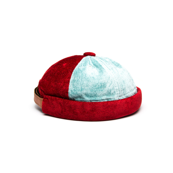 Yarmulke Short Cap - Sky Blue/Red