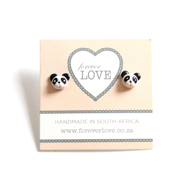 These totally adorable panda studs are handmade from polymer clay, and measure about 1cm in size.
