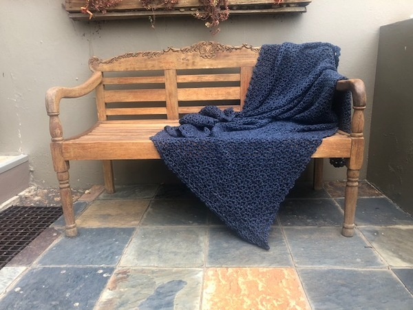 Hand crocheted, pure cotton chunky throw. An ideal accessory in your living space.  Colour: Storm - Dark Navy Blue  Texture: V-Stitch  Size: 115 cm x 140 cm (As theproducts are individually handmade, size may differ up to 10%)  Weight: 1.5 kg