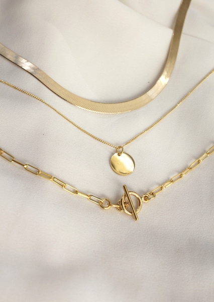 A set of three18kGold Vermeil Chains with sterling silver base.  This chain set features a 45cm Herringbone chain, a 50cm CoinNecklaceand a 55cm Classic Gold Chain.  All our jewellery is nickel free.