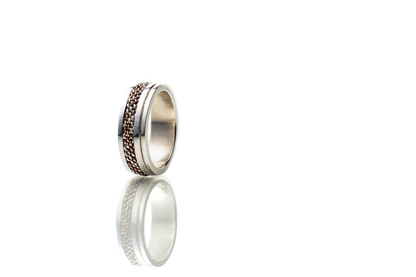 Woven sterling silver and copper ring