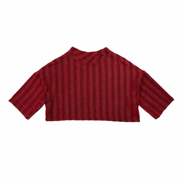 Cropped Nicci Tee - Red Herringbone