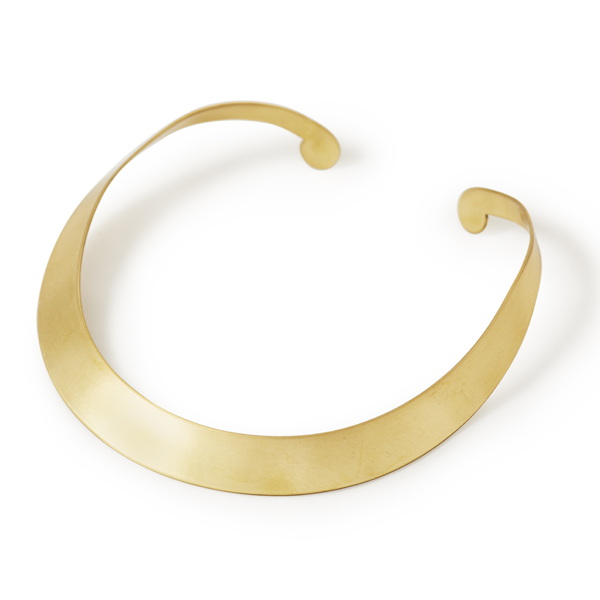 Shoulder-In Collar Necklace.  The collar is brass with an anti tarnish, skin sensitive coat. It is non allergenic which means it's safe for sensitive skin and will not discolor. It's simple and elegant and can be worn with just about anything.  The collar is named after a dressage movement where the horse should be slightly bent around the rider's inside leg – away from the direction of movement in a collected trot. The inside front leg should cross over in front of the outside front leg. The inside hind leg should remain on the same track as the outside leg, thus stepping under the horse's body as he moves. The horse should be traveling on 3 tracks and maintain his cadence as he moves.  Size: S,L