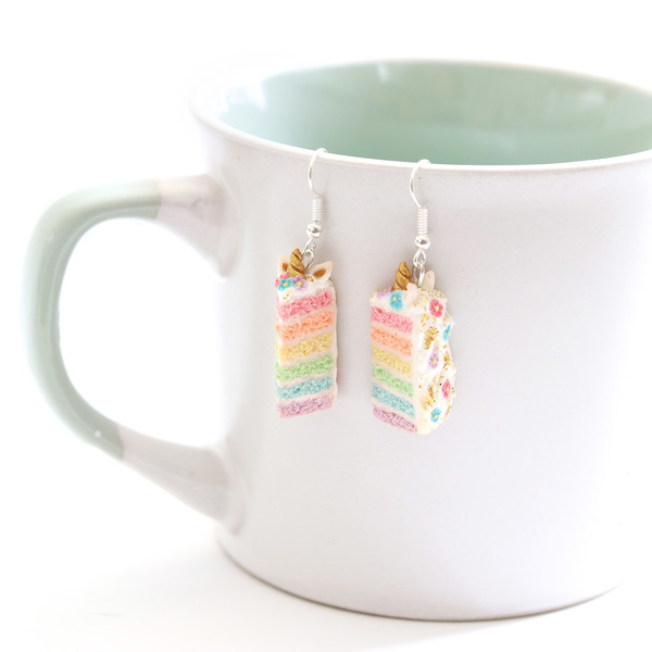 Unicorn Rainbow Cake Dangly Earrings