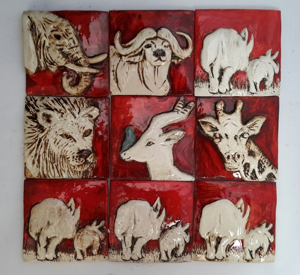 Handmade ceramic tiles  Glazed  H:80 mm x W:80mm  Size and colour may vary