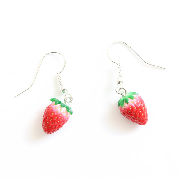 These delightful and totally adorable and unique strawberry dangly earrings are handmade from polymer clay. Each seed has been placed with great care to help create realistic strawberries.
