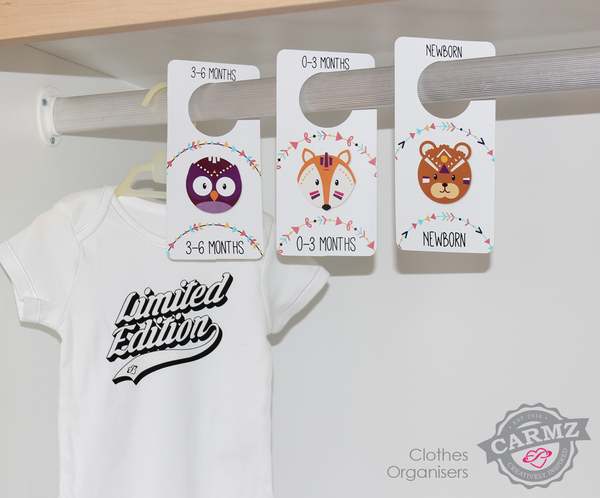 Carmz Baby Milestone Stickers & Clothes Organiser Combosmake the perfect baby shower gift. The Baby Milestone stickers are the cutest and easiest wayto capture a little ones first year, with monthly stickers to be placed onto their clothes and then photographed. The matching clothes organisers are to make getting dressed a little easier.  Carmz Baby Milestone Stickers & Clothes Organiser Combos come in a varietyof designs. In each pack: 12 monthly stickers plus5 fun stickers, size per sticker95mmhigh-quality stickers and 6 cardboard clothes organisers from newborn to 12-24 months. Designed and printedby Carmz in Johannesburg South Africa.   Please specify the following info at check out:   Name of set being ordered   If you have a personal design you would like made up please leave a comment or email us you're request to info@carmzonline.co.za.