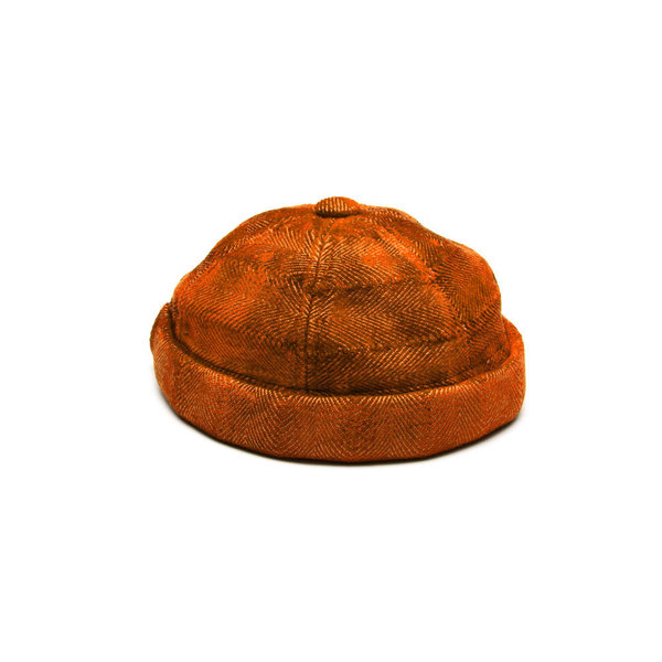 Yarmulke Short Cap - Namib Orange Herringbone