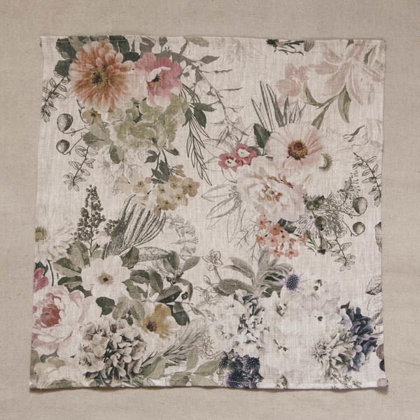 Set of 2 Floral Linen Serviettes