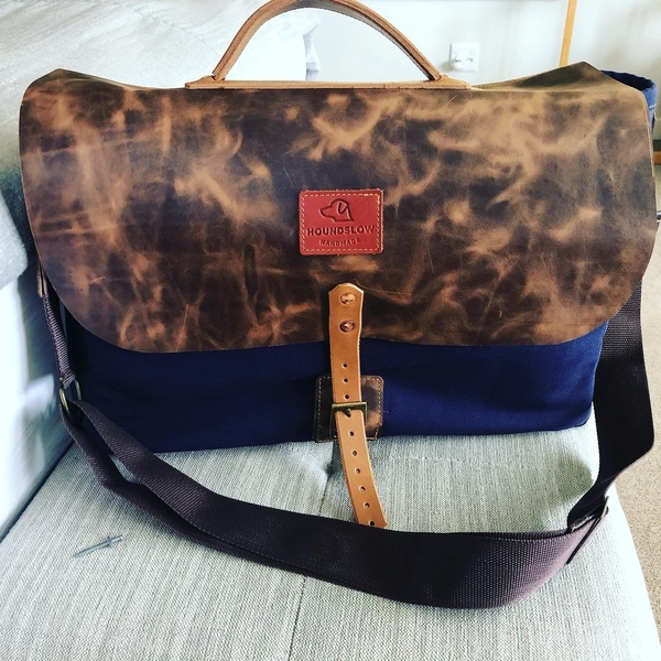 Messenger Laptop Bag -Canvas and Leather