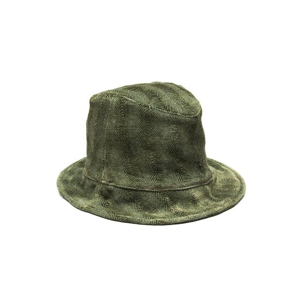 Hoedjie Bucket Hat - Olive Herringbone