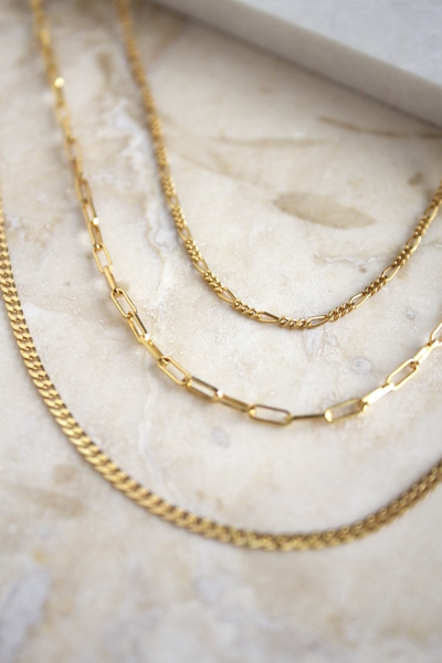 A set of everyday lightweight chains. Great for layering, each chain is separate and can be interchanged with other necklaces.