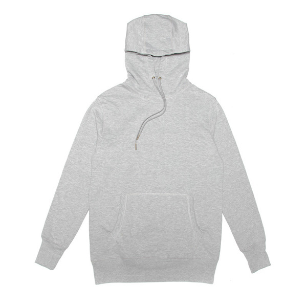 A classic pullover hoody cut from a 60% cotton/40% polyester brushed fleece. Finished with a kangaroo pouch, antique brass tipped drawstrings, ribbed cuffs and hem.  Handmade in Cape Town.