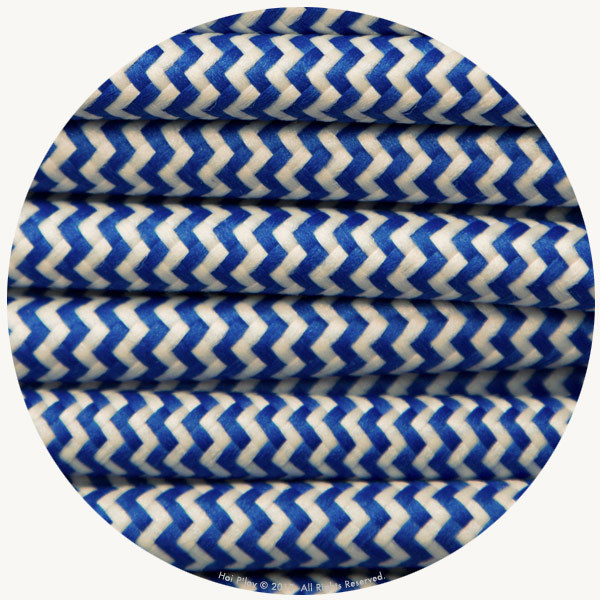 Zigzag Blue & Ivory Fabric Cable