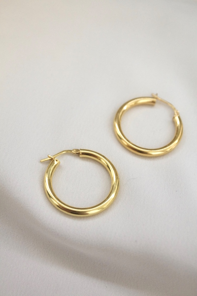 Oversized lightweight Gold Plated Sterling Silver Hollow hoops