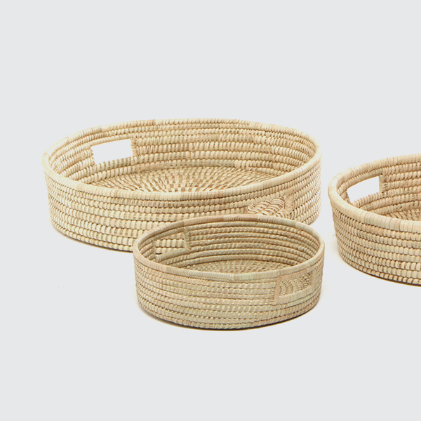 R 290 - R 370  Strong, supportive tight weave trays. Lovely for delivering tea or as a decorative fruit basket.  REQUEST DETAILS  Product code & Dimensions  3 Size Options:   BG/TRAY 1 500mm (d) x 100mm (h) BG/TRAY 2 450mm (d) x 80mm (h) BG/TRAY 3 400mm (d) x 80mm (h)