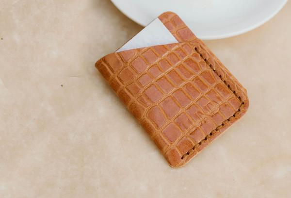 Card wallet - croc embossed
