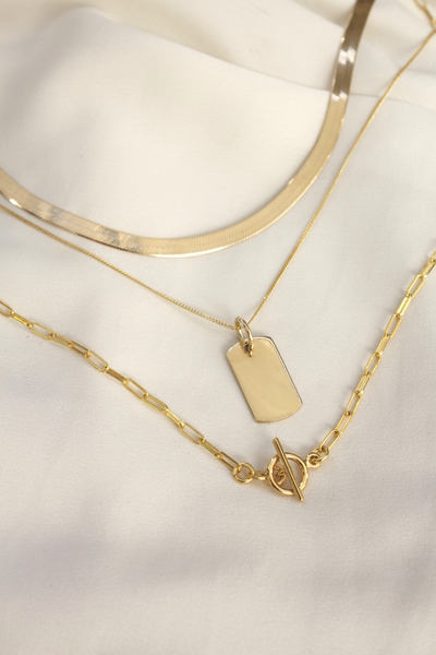 A set of three18kGold Vermeil Chains with sterling silver base.  This chain set features a 45cm Herringbone chain, a 50cm Rectangle PendantNecklaceand a 55cm Classic Gold Chain.  All our jewellery is nickel free.