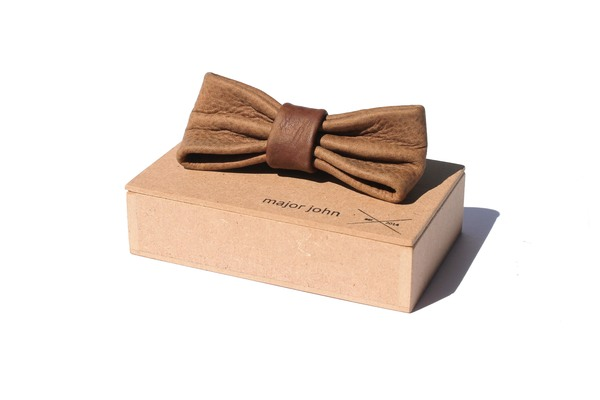 Brown Genuine Leather Bow Ties &