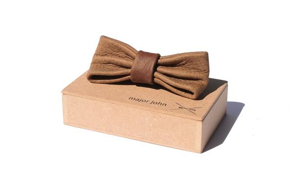 Brown & Grey-Brown Genuine Leather Bow Ties