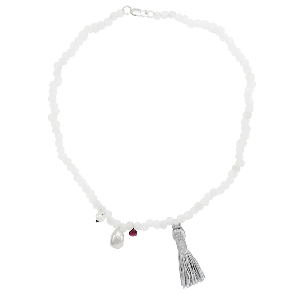 Small Beetle Tassel Necklace in White