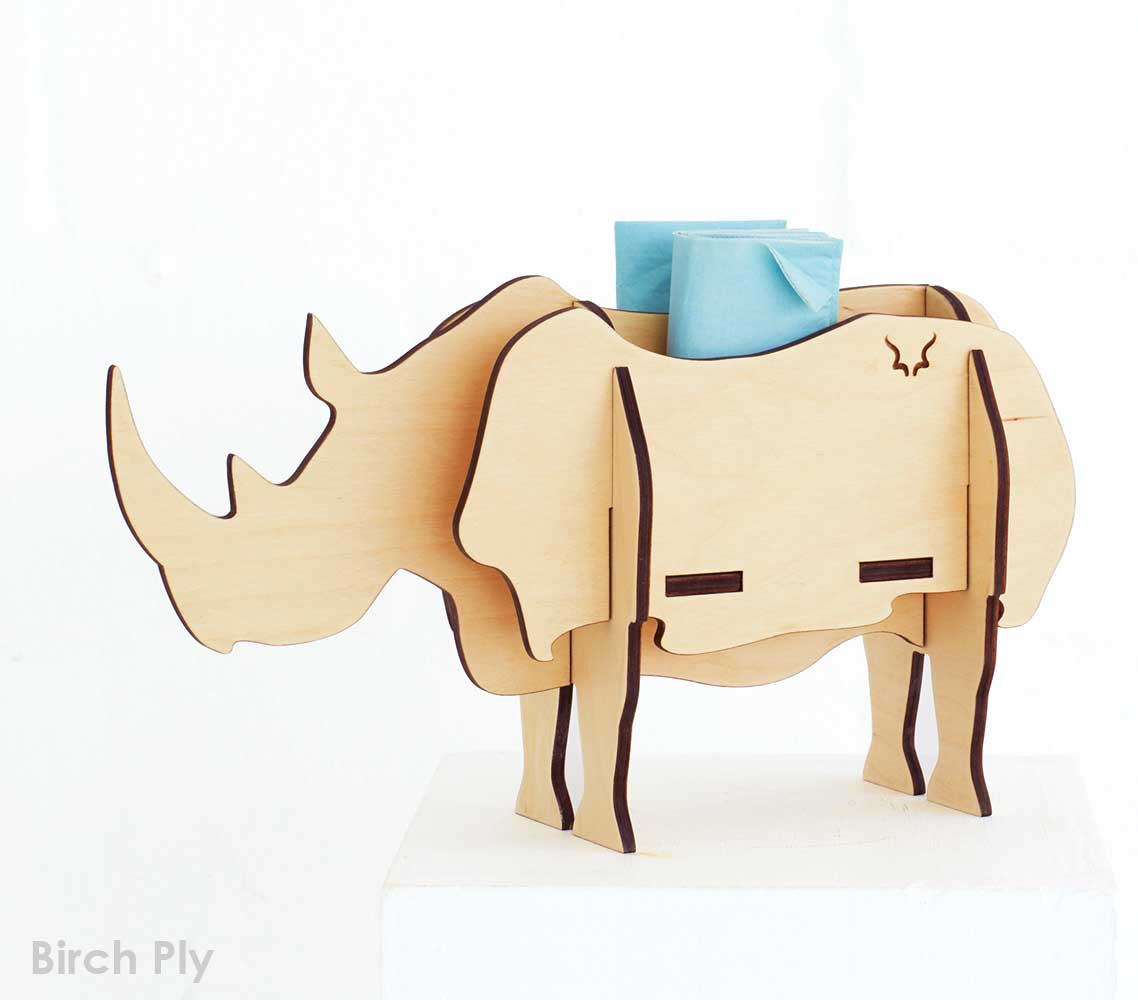 A 7-piece full-bodied Rhino standing sculpture available in Birch ply.