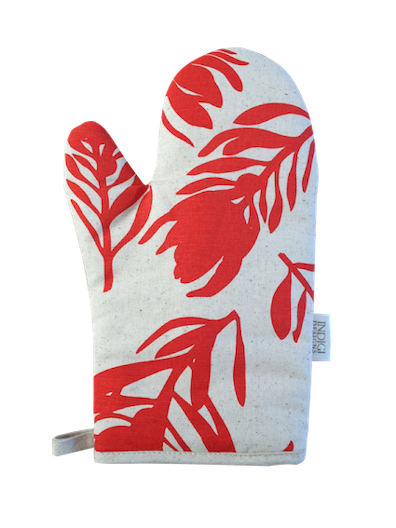 Oven Glove - Conebush (Watermelon on Natural)